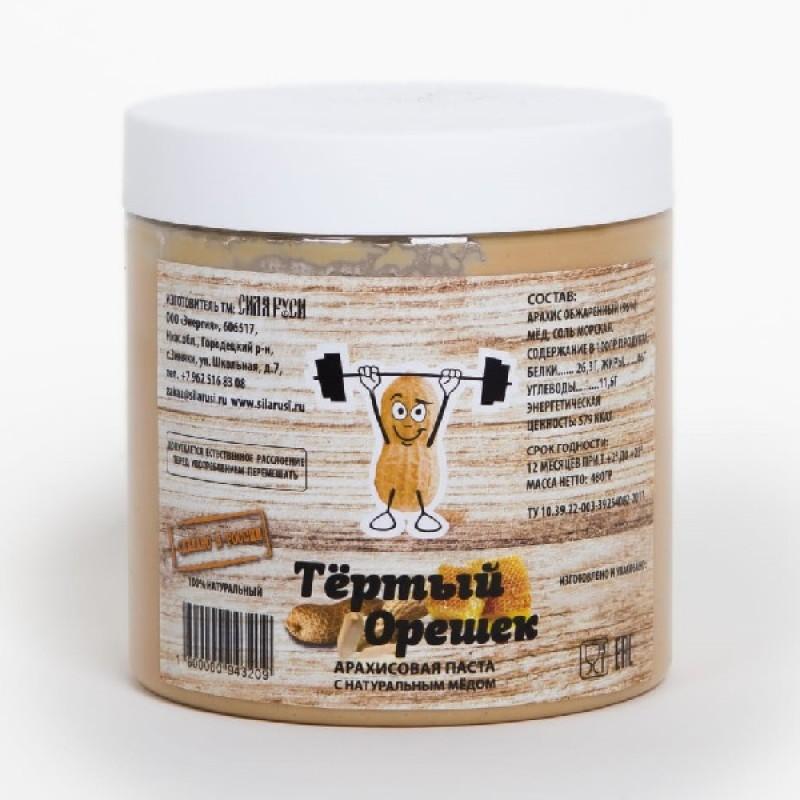"""Арахисовая паста """"Тёртый орешек"""" с мёдом 480гр"""